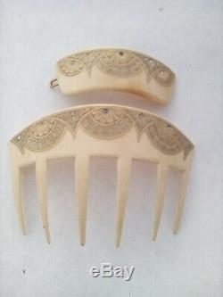 Peigne + barrette à cheveux ancien celluloid strass ART NOUVEAU