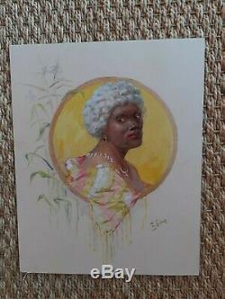 Peinture gouache portrait de femme art nouveau créole signé Michel Simonidy