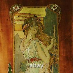 Peinture sur bois Art nouveau Femme entourée de fleurs