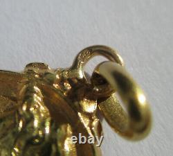 Pendentif ancien Art Nouveau or massif 18 carats femme fleur French gold 750