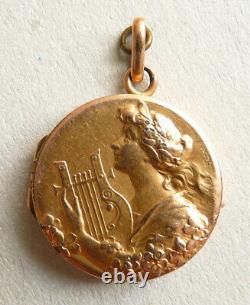 Pendentif reliquaire FIX ART NOUVEAU Modern Style 1900 signé BECKER femme lyre
