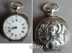 Petite montre gousset argent massif signé E. T ART NOUVEAU silver watch femme