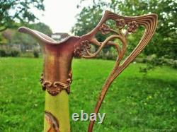 Pichet ancien Femmes bronze faïence Art Nouveau old pitcher Women bronze earthen