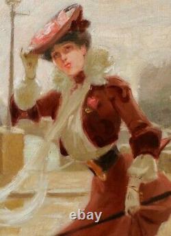 Pierre Bonnaud, tableau, femme, Art Nouveau, mode, élégante, Lyon, paysage