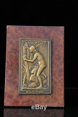 Plaque bronze Art Nouveau Femme nue Daniel Dupuis 1900 Nude woman Jugendstil