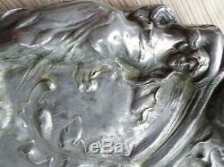 Plumier-Encrier en étain-femme-ART DÉCO-ART NOUVEAU-Jugendstil
