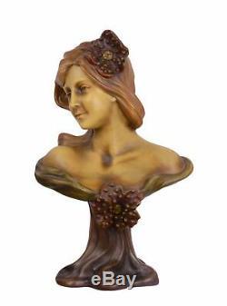 Porcelaine sculpture en terre cuite Buste chiffre Femmes Art Nouveau