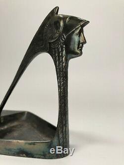 Porte Bougie Wmf Femme Casquee Minerve 1900 Art Nouveau Marquage B I Ox O C2527
