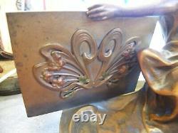 Porte Carte de visite Art Nouveau en Régule Femme Signé Jugendstil