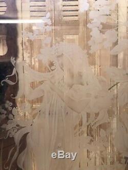 Porte Vitré Verre Gravé Acide Art Nouveau Jugendstil Bistrot Glass Mucha Femme