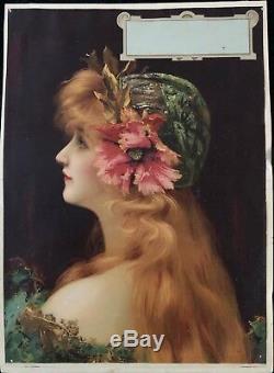 Portrait De Femme Art Nouveau Chromolithographie Anonyme Circa 1900