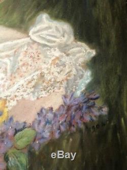 Portrait Romantique Femme Art-nouveau Dessin Pastel Lilas Lilac1904