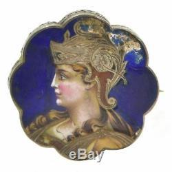Portrait miniature sur Porcelaine émaillée de jeune femme 1900 Art nouveau