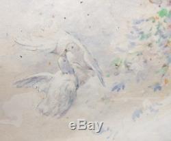 Projet d'éventail aquarelle de Delphin ENJOLRAS (1865-1945) daté 1909 femme nue