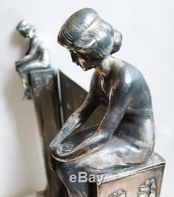 Psyché coiffeuse miroir Art Nouveau statuettes femmes Modern Style Jugendstil