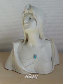 RARE BELLE ancienne SCULPTURE BUSTE FEMME BISCUIT signé G. FLAMAND art nouveau