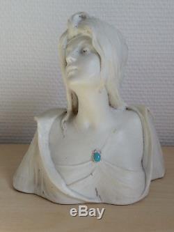 RARE BELLE ancienne SCUPTURE BUSTE FEMME en BISCUIT signé G. FLAMAND art nouveau