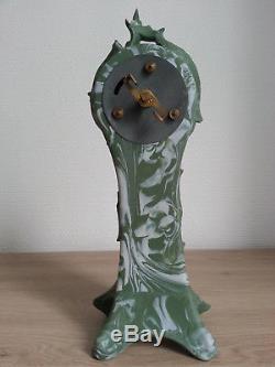 RARE MAGNIFIQUE ancienne PENDULE ART NOUVEAU Femme GREEN JASPERWARE WEDGWOOD