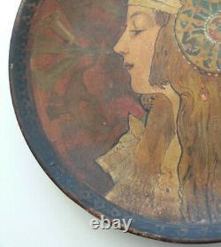 RARE ancien GRAND PLAT ART NOUVEAU style MUCHA TETES BYZANTINES jeune femme