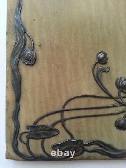 RARE ancien PORTEFEUILLE CUIR décor FEMME en ARGENT ART NOUVEAU style MUCHA