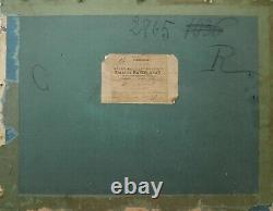 ROBERT dessin pastel tableau art 1900 scène d'intérieur femmes lecture salon