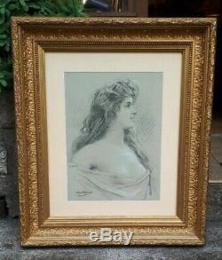 Rare Dessin Signé Abel Boyé Femme V. 1880 Art Nouveau Qualité Musée Encadré