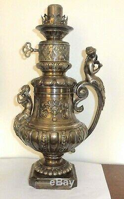 Rare Lampe A Gaz Bronze Argente Art Nouveau Femmes No Huile Petrole Lamp