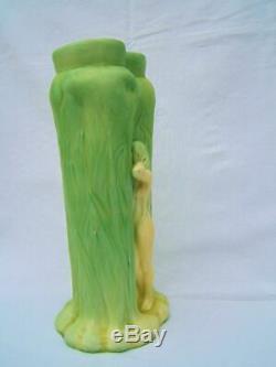 Rare Vase Gustav Gurschner autriche forster 1873 1970 Art Nouveau grès femme nue