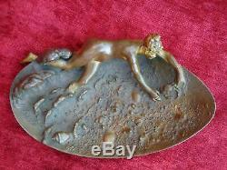 Rare grand bronze signé Art Nouveau Adolphe Maubach femme mer coquillage curiosa