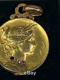 Rare médaillon art nouveau or 18 k jugendstil diamant femme faucille porte photo