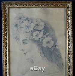 Ravissant dessin portrait femme Art nouveau signé woman painting jugendstil 1906