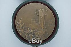 Rene Baudichon 1910 Femme Art Nouveau Medaille Bronze Ecrin Origine Scf France