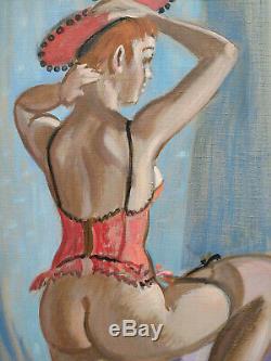 Robert LEPELTIER (1913 1996) Femme nu au corset, +++++ Huile sur toile +++++