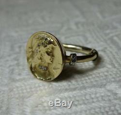 Rose Diamant Taille Art Nouveau Bague Femme 14k or 1910 Antique Belle Époque