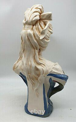 Royal Dux Buste De Femme Polychrome Aux Iris 1900 Art Nouveau