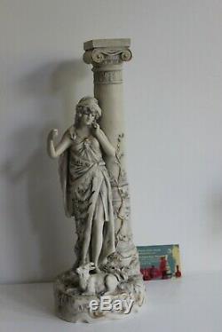 Royal Dux Statue Femme Bergère Antique Porcelaine Biscuit Art Nouveau Jugendstil