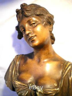 SUBLIME Statue, sculpture terre cuite Art Nouveau 1880 Buste de femme signé L