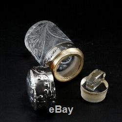 SUPERBE Flacon à sels ART-NOUVEAU 1900 Argent Massif cristal BACCARAT
