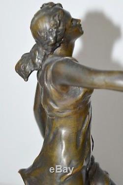 SUPERBE STATUETTE FEMME BRONZE patine BRUNE ART NOUVEAU signé A. R. PHILIPPE 1900