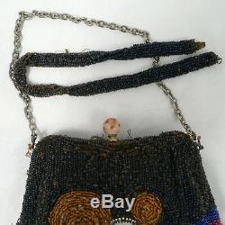 Sac à main, bourse brodé de perles couronne comtale art Nouveau 1900 ancien