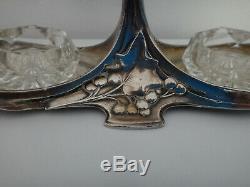 Saliere Poivriere Femme Art Nouveau 1900 Metal Argente