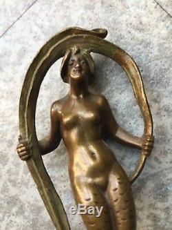Sceau Cachet ancien Femme Sirene Art Nouveau 1900 Bronze Tampon Antique Seal