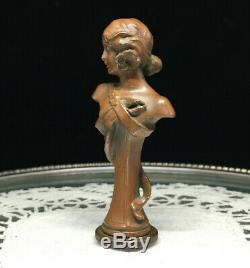 Sceau Cachet ancien Femme à la fleur Art Nouveau 1900 Bronze Tampon Antique Seal