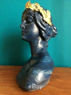 Sculpture Buste femme Fama Volat FIASCHI / allégorie Renommée 1900/1910