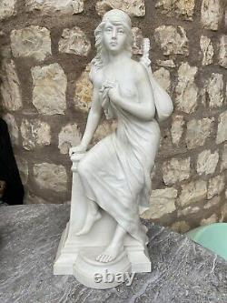 Sculpture En Biscuit Art Nouveau ROGRON Femme A La Mandoline