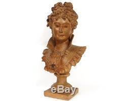 Sculpture buste terre cuite femme élégante Belle Epoque Art Nouveau XIXème