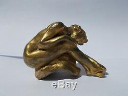 Sculpture en bronze J. LOYSEL 1890/1910 art nouveau femme nue statuette miniature