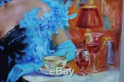 Serge Ignatenko 1975 huile originale excellent Femme Elegante Art Nouveau