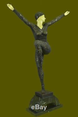 Signée Faux-Bone Style Art Nouveau Femmes Bronze Marbre Sculpture Statue