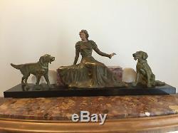 Statue ART NOUVEAU femme & chiens
